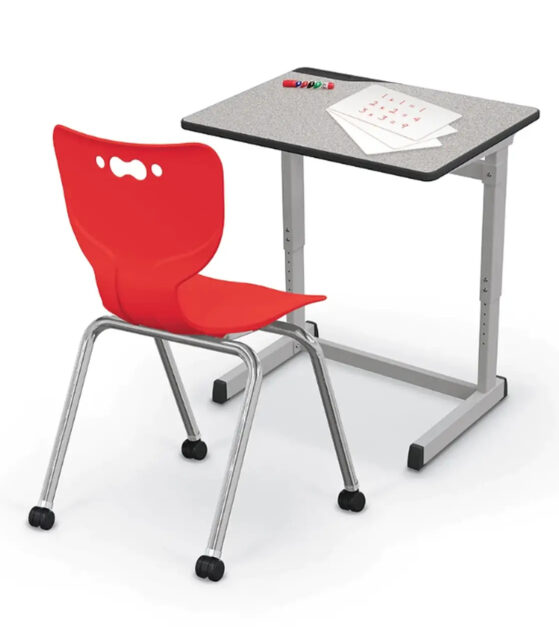 Essentials Student Desk and Hierarchy Caster Chair Red